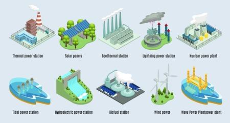 Isometric Environmental Eco Plants Set