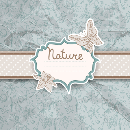 Beautiful Flowers And Butterflies Background Ilustracja