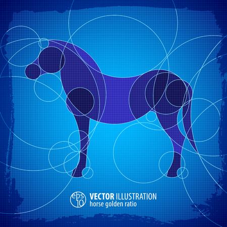 Cavallo decorativo sfondo blu effetto Archivio Fotografico - 87448400