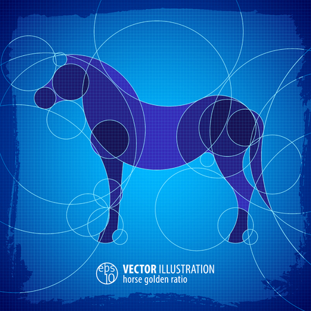 Horse Decorative Blue Scheme Background Ilustração