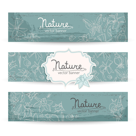 Romantic spring daffodils banners set
