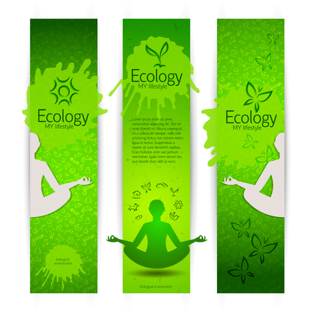 Ecological harmony concept banners