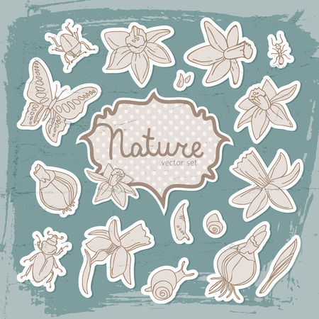 Romantic spring background with isolated colored daffodils butterfly and isolated headline nature vector illustration