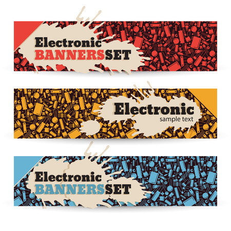Industrial banners set with electronic components and tools vector Illustration