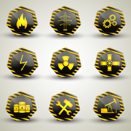 Black and yellow industrial icons set with various warning signs isolated on grey background flat vector illustration