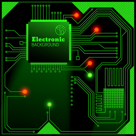 Electronic board with bright lights background flat vector illustration