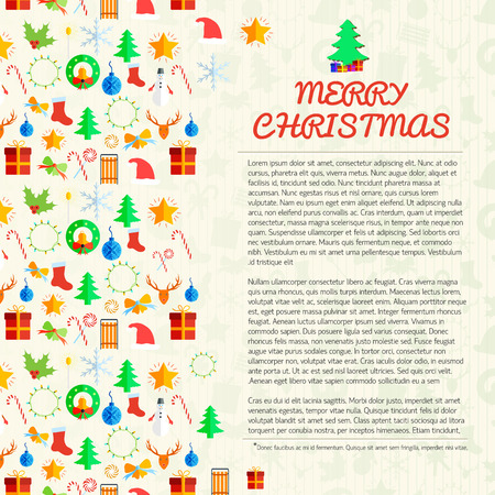 Merry Christmas poster with different festive elements and icons in flat style vector illustration Illustration