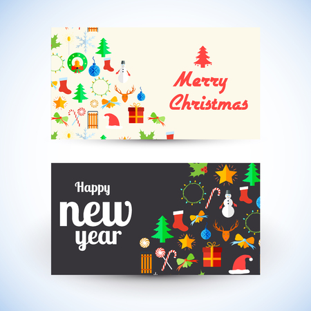 Celebrating greeting cards template with various Christmas and New Year elements and symbols isolated vector illustration
