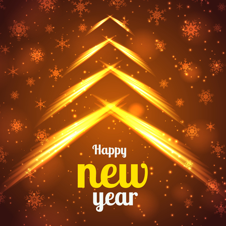 Happy New Year bright poster with fiery lights glowing snowflakes. Illustration