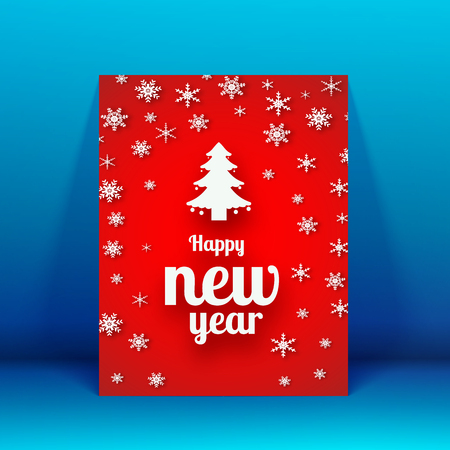 New Year brochure template with white fine tree. Illusztráció