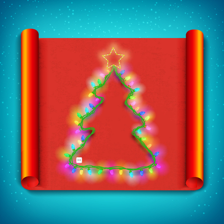 Merry Christmas curved paper template with light garland in shape of tree. Illustration