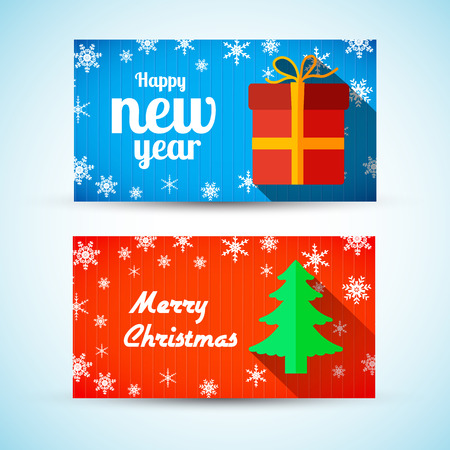 Christmas and New Year horizontal banners with fine tree gift and snow.