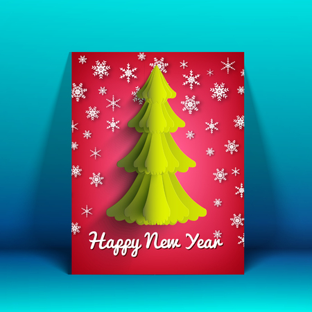Happy New Year greeting card with fine tree and decorative falling snow.