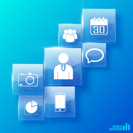 mobile marketing: Modern business icons set on transparent squares.