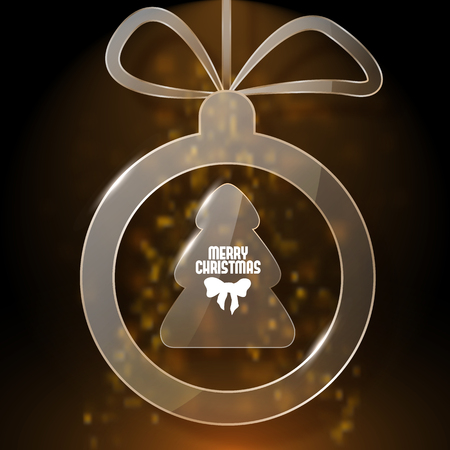 Dark brown christmas card with glass christmas ball and tree inside. Illustration