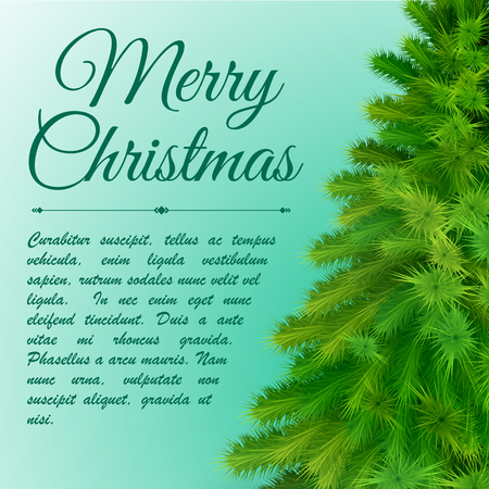 Merry christmas background with text field and fir tree branches on right side flat vector illustration Çizim