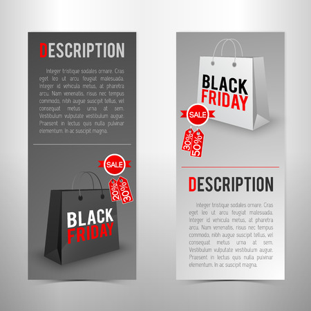 Flat design vertical black friday sale banners set with text fields in grey color isolated vector illustration 向量圖像