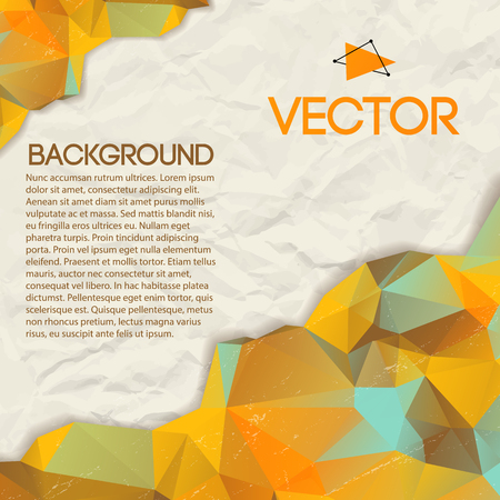 Abstract triangle vector background with different colors and effect of crumpled paper in the middle vector illustration Illustration