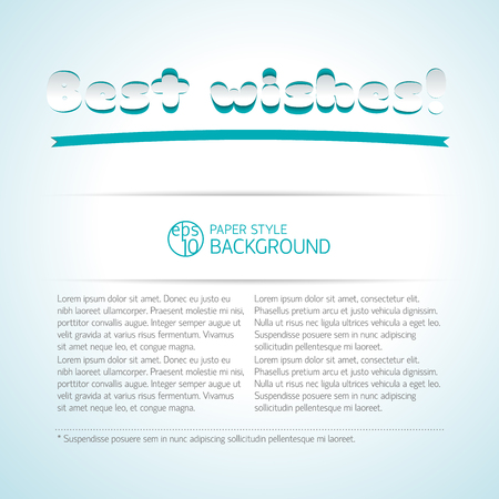 Best wishes signature background cut from paper with place for text and big headline vector illustration