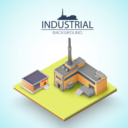 Manufacturing buildings with grey roofs at yellow platform and silhouette of factory on light background vector illustration Иллюстрация