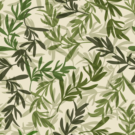 Vintage green leaves seamless pattern