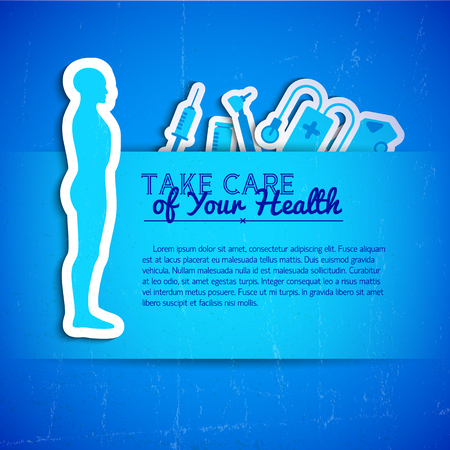 Blue color concept with text field medical tools and human body silhouette flat vector illustration