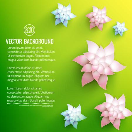 Decorazioni floreali bianche con sfumature blu pallido e chiare blu su sfondo verde illustrazione vettoriale giallo Archivio Fotografico - 87664425