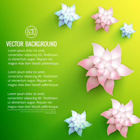 White floral decorations with pale pink and light blue shades on green yellow background vector illustration Ilustração