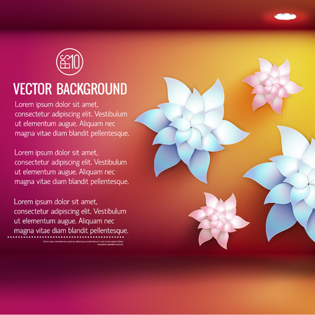 Artificial flowers of various size and electric lighting on red yellow 3d background vector illustration Иллюстрация