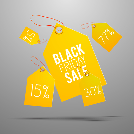 Black Friday Yellow Tag Set Illustration