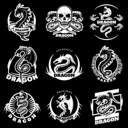 vintage dragón dragón letras conjunto de negro
