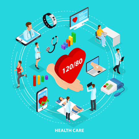 heart monitor: Isometric Digital Medical Care Concept