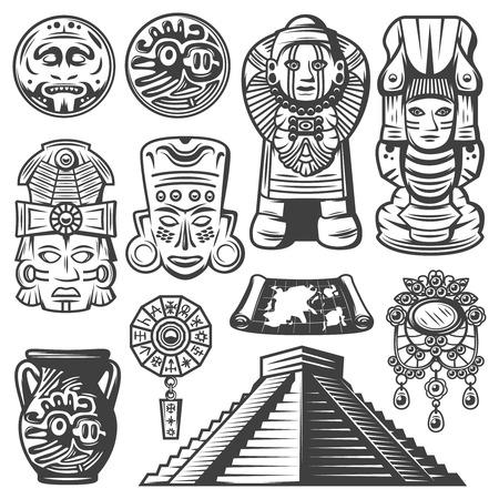 Vintage Monochrome Maya-elementen instellen Stock Illustratie