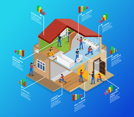 Isometric Home Repair Infographic Template. Иллюстрация