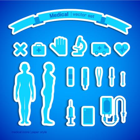 Blauwe die kleur met mannelijke lichaamssilhouetten en diverse medische hulpmiddelen en symbolen vlak geïsoleerde vectorillustratie wordt geplaatst Stock Illustratie