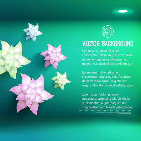 White artificial flowers of various shades and electric lighting on green 3d background vector illustration