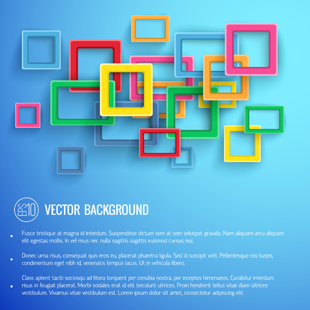 Abstact colorful frames of square and rectangle shapes with text at bottom on blue background vector illustration