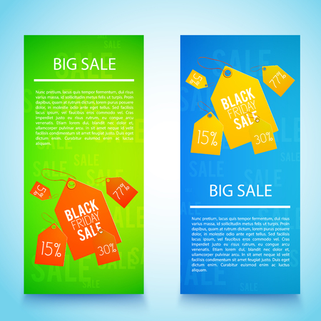 Two vertical black friday banner set with big sale descriptions and red and yellow tags vector illustration