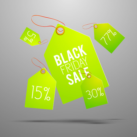 Bright green sale tag set with percent of sale and black friday sale description on one of all vector illustration Ilustrace