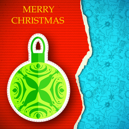 Merry Christmas background with decorative ball torn paper and hand drawn line icons pattern. Illustration
