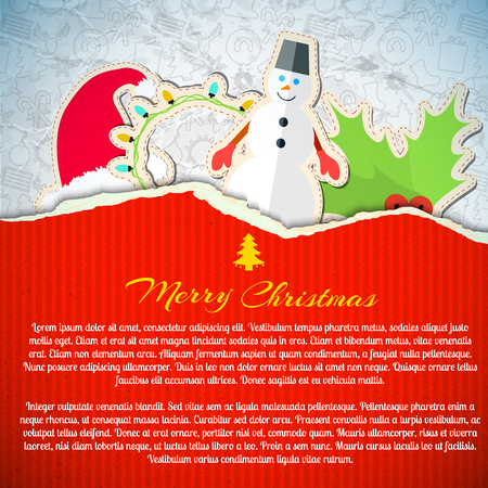 Merry Christmas invitation card with paper Santa hat snowman holly garland and sketch icons pattern.