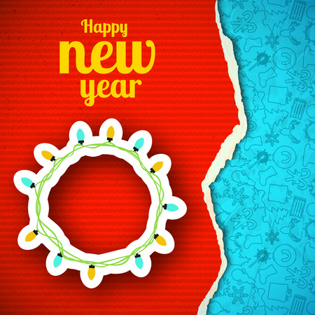 Happy New Year paper design template with cut light garland and sketch line icons pattern illustration.