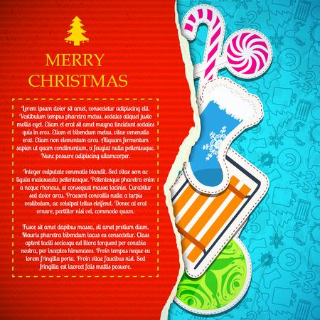 紙でメリー クリスマスのお祭りの背景は安物の宝石ギフト靴下そりをキャンディし、アイコン パターンをスケッチします。  イラスト・ベクター素材