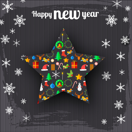 Happy New Year holiday background with Christmas icons pattern in shape of star. Illustration