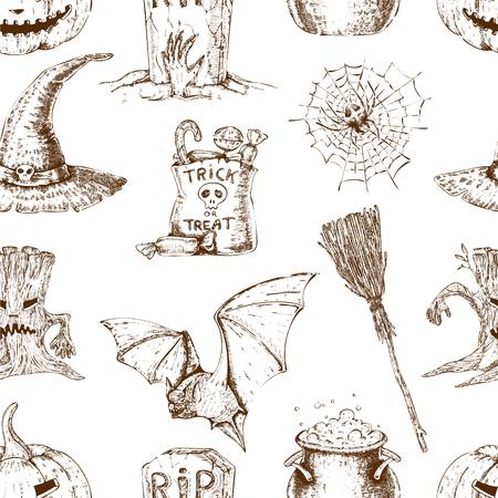 Sketch Halloween Seamless Pattern Illustration