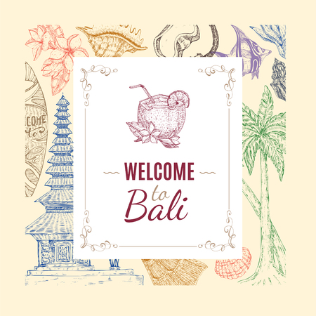 Hand Drawn Balinese Background - welcome to Bali