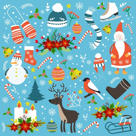 크리스마스 손으로 그린 연속 패턴 일러스트