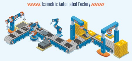 Isometric Automated Production Line Concept