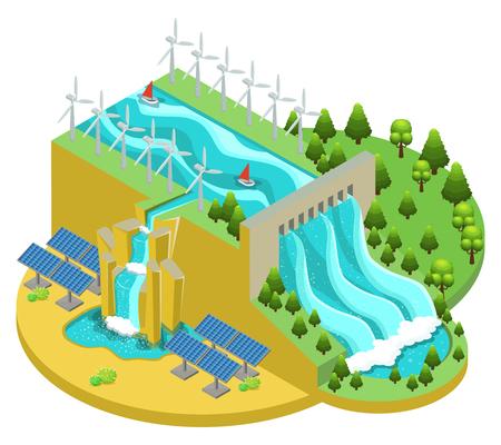 Concepto de fuentes de energía alternativa isométrica como represa de agua