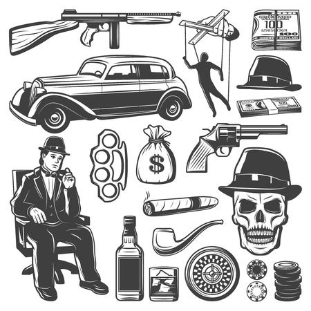 Vintage Gangster elementen collectie Stock Illustratie